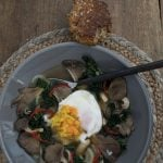 Poached eggs in bone broth