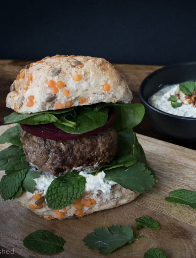 Lamb mint and feta burger