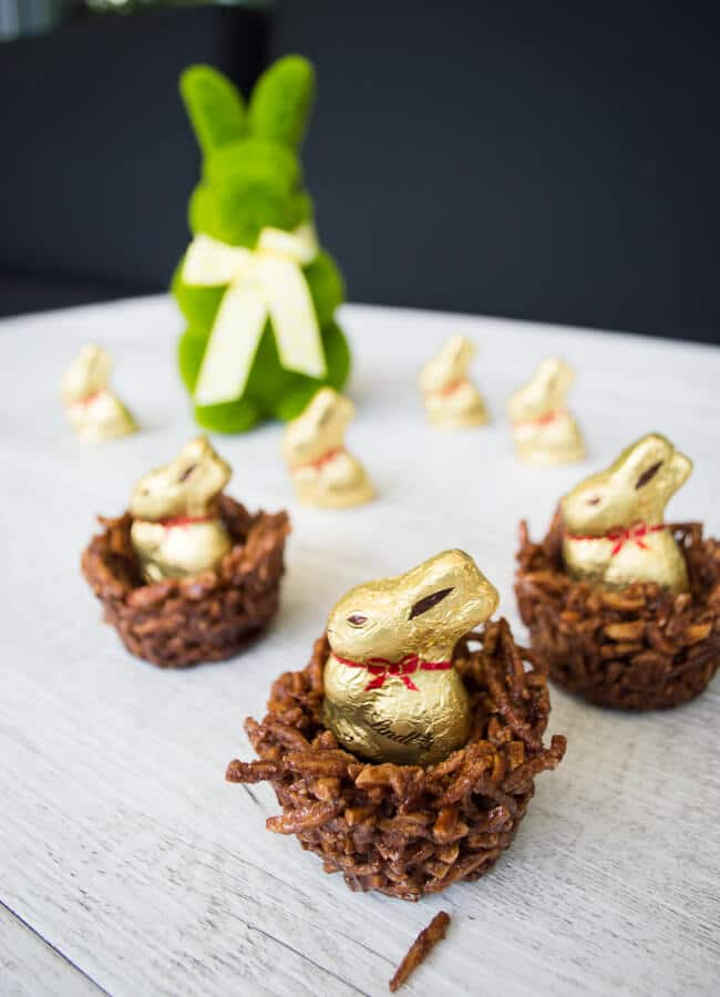 Raw chocolate easter nests