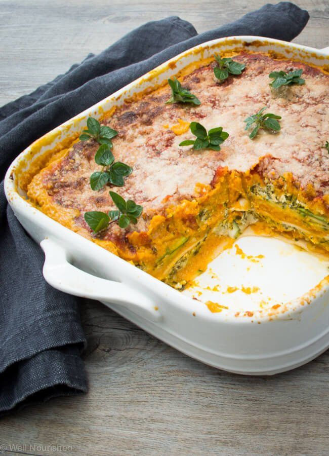 Pumpkin lasagne - Pumpkin Lasagne (with lots of twists) - this vegetable loaded lasagne is quick and easy to make. Includes variations for vegan, dairy, egg and gluten-free.