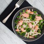 Salmon pea broccoli pasta