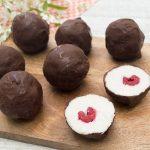 Raspberry coconut truffles
