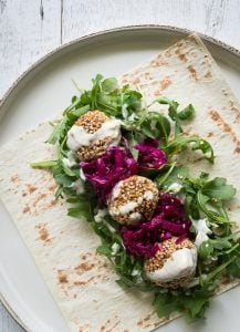 Nut falafel with tahini drizzle