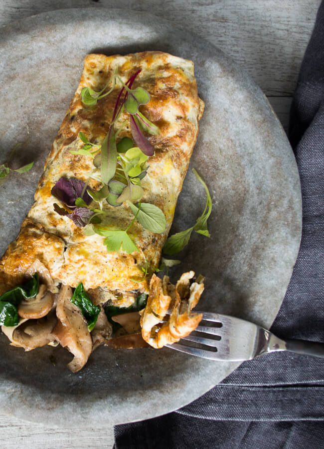 Garlic Mushroom omelette wrap- My Garlic Mushroom Omelette wrap is a delicious, nutrient dense 'anytime meal' that my whole family adores. It is a healing, immune boosting combination.