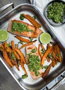 A delicious, healthy meal, my Crispy Salmon with Coriander Lime Pesto (and sweet potato chips) is really quite simple to make and is sure to become a family favourite.