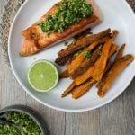 Salmon with coriander pesto
