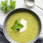 Zucchini mint feta soup - This Zucchini, Mint, Feta Soup (in just ten minutes) couldn't be easier to make and is super tasty. Even zucchini hating kids will love this healthy soup.