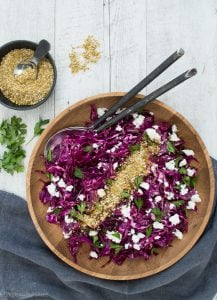 This Red Cabbage Dukkah Slaw (or braise) is a delicious recipe that you can enjoy as a fresh slaw or you can braise the cabbage & enjoy this as a warm side.