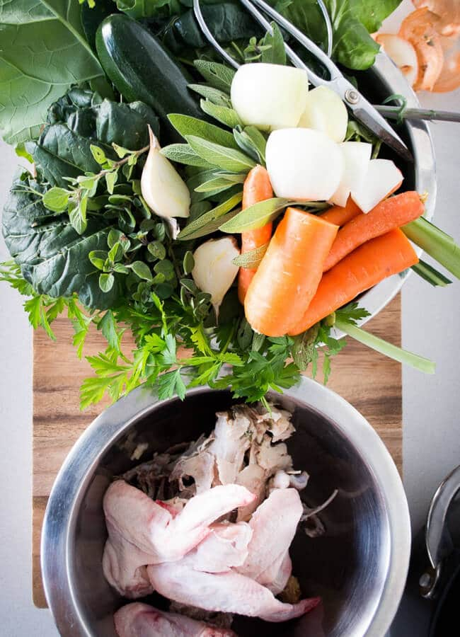 Bone broth ingredients - Heal your body with this nourishing bone broth recipe. Simple, easy to make and includes why this is just so healing and nourishing. The best recipe ever.