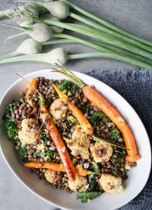 Lemon Mustard Lentils, Cauliflower, Carrots, Kale