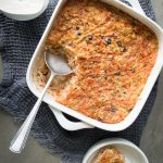 This Carrot Cake Baked Oatmeal (with cinnamon yoghurt) is a easy, super nourishing to make breakfast that includes a serve of both fruit and vegetables.