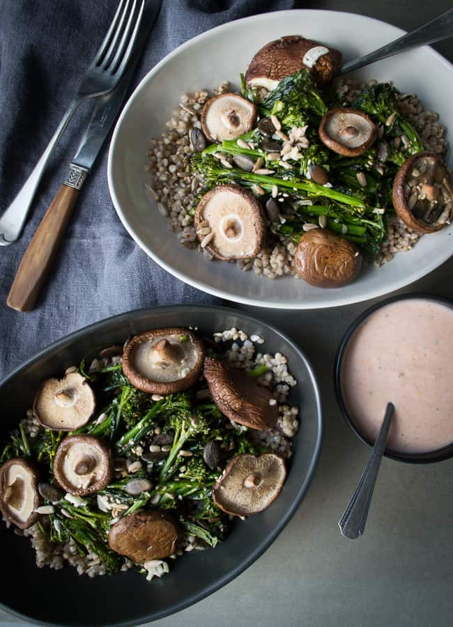 This Vegetarian Buckwheat Broccolini Bowl (with an option for making it vegan) is a protein rich, immune supportive meal in a bowl.