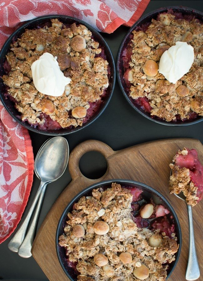 This Apple Raspberry Rhubarb Macadamia Crumble is my absolute favourite combination flavours with apple, raspberry and rhubarb.