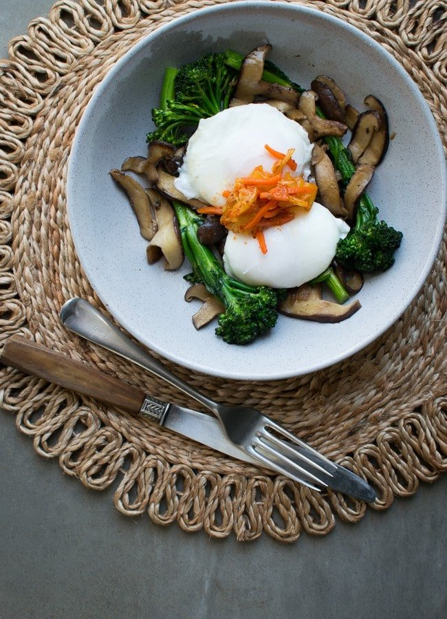 This Broccolini Shiitake Stir-fry (with poached eggs) is the perfect way to start the day or makes for a quick, light meal.