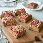 This Banana Rhubarb and Raspberry Slice tastes amazing.  The sweetness of the ripe bananas paired with the tartness of the rhubarb is a perfect match.