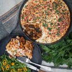 A healthier and lighter take on a Greek classic Pastitsio. Instead of a rich cheesy sauce, it's topped with a much lighter blend of yoghurt, tahini and parmesan cheese.