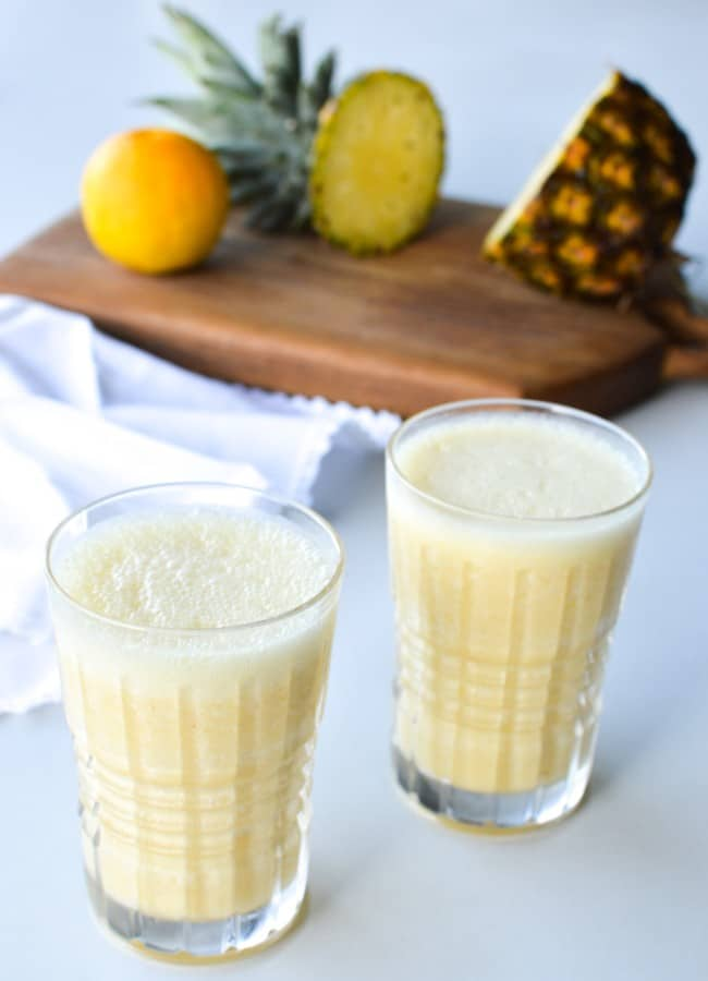 This Orange Pineapple Smoothie is a fresh, creamy and delicious snack or breakfast. It's perfect to support immune function during the cooler months.