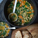 This Tuscan Vegetable Soup is a delicious, iron rich vegetarian meal. The cannellini beans and kale are great sources of iron.