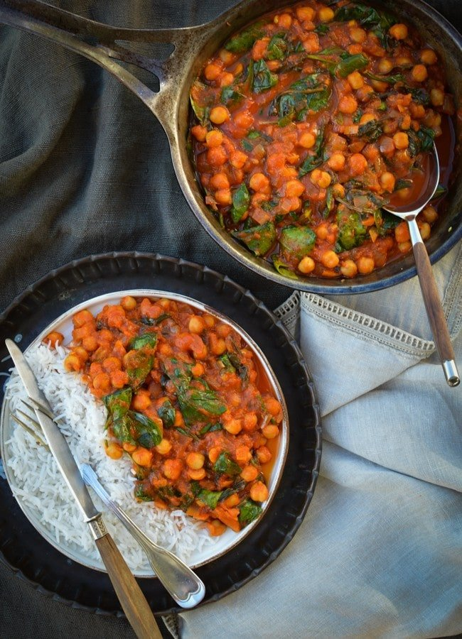 This quick and easy to make Chickpea Curry is a budget friendly meal that's perfect to make from pantry staples and full of plant based goodness.