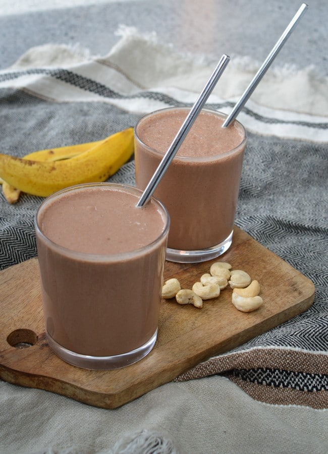 This Chocolate Banana Smoothie is one of my son's favourite dairy free smoothies. Rich and chocolatey and you can adjust the sweetness to suit your tastes.