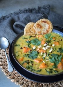 This Creamy Kale Sweet Potato Soup is a deliciously hearty soup that will warm and truly nourish, made from nutritious simple ingredients.