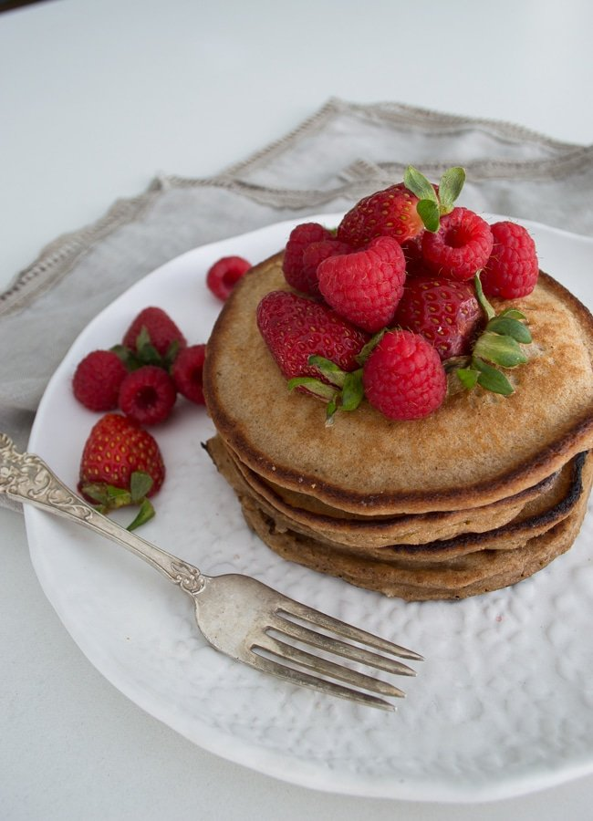 This is my nourishing version of the very unhealthy 'shake and mix' type of pancake mix available in supermarkets. This is great for pancake loving kids, because they can make up their own very easily.