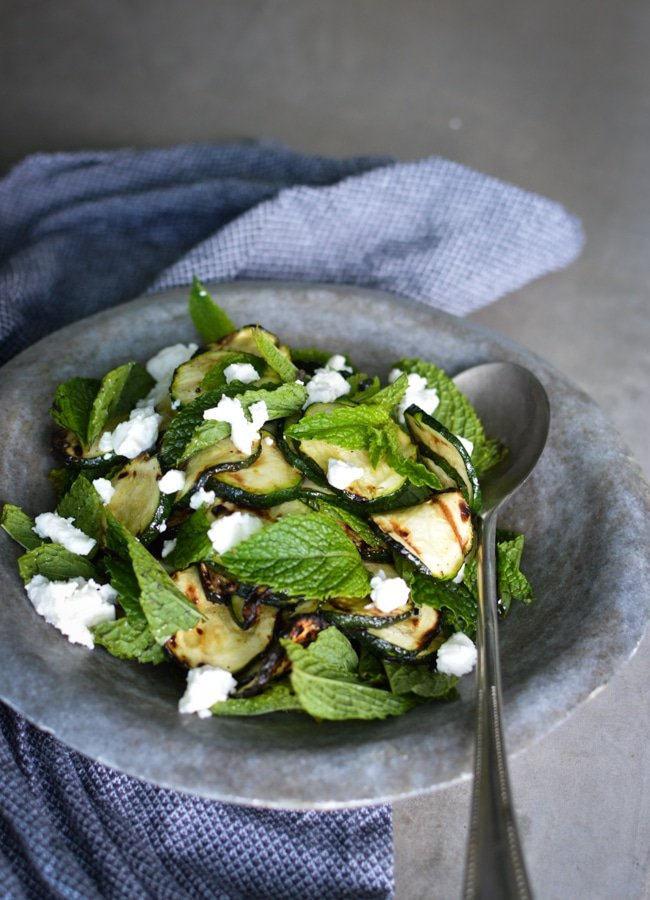This Char grilled Zucchini Salad is stunning side to prep if you have the BBQ on. Delicious with feta and a cracking dressing.