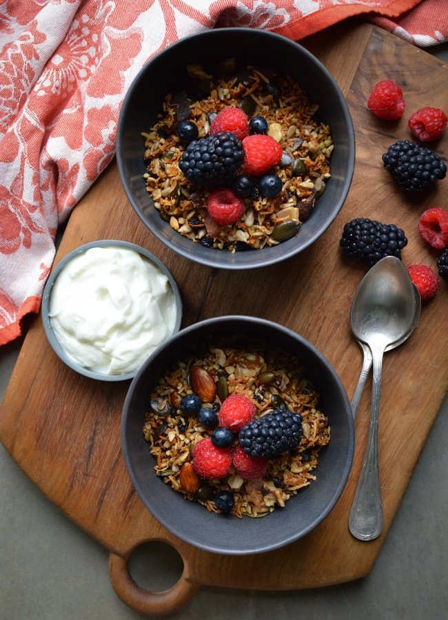 This Apricot Almond Orange Gluten-free Granola is a simple and nourishing breakfast option ready to go on busy mornings!