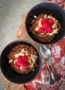 This Chocolate Quinoa Porridge is a delicious pudding that's healthy enough for breakfast, and delicious enough for dessert.