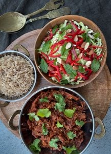 This pull apart Indian Brisket is a lovely set and forget meal. Rich and flavoursome meal that is delicious with the zesty slaw and yoghurt.
